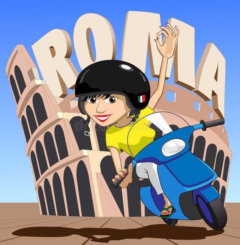 女孩罗马滑行车 向量例证