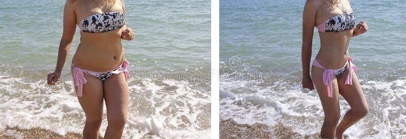 女孩美丽在游泳衣重量海成功在饮食肥胖病形象前后 库存图片