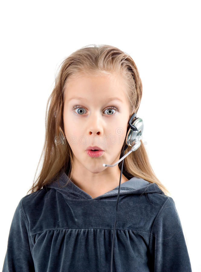 女孩耳机一点冲击了 免版税库存照片