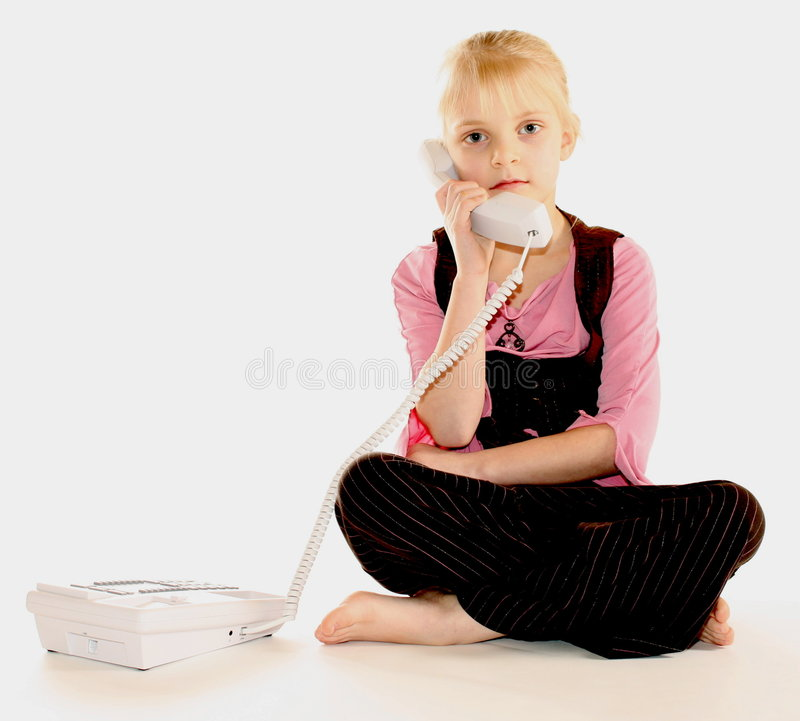 女孩联系的电话 库存照片