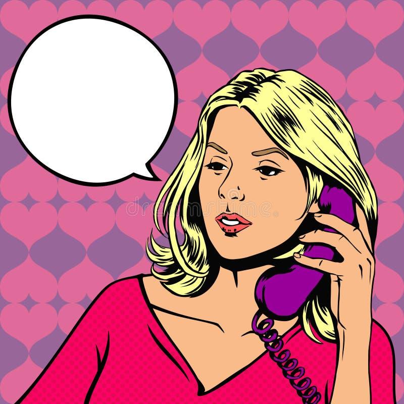 女孩联系在电话 皇族释放例证