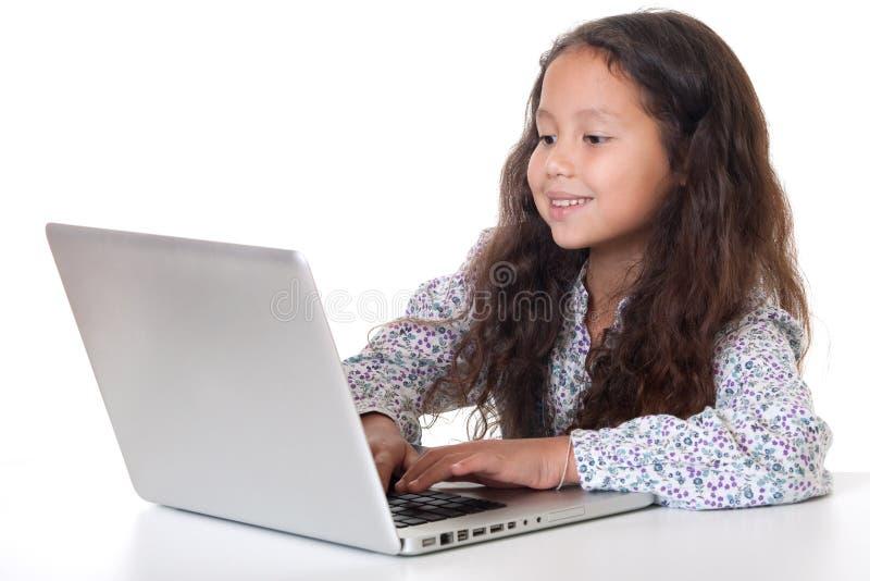 女孩膝上型计算机坐 库存照片