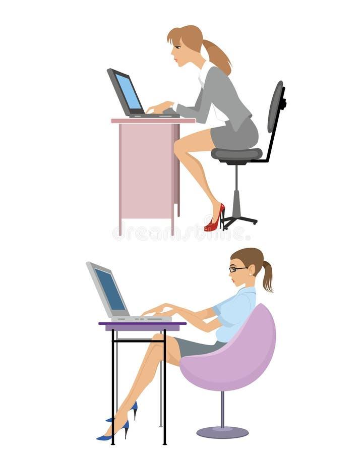 女孩膝上型计算机 皇族释放例证