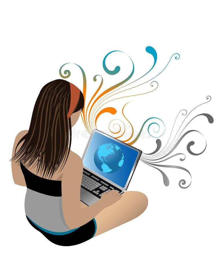 女孩膝上型计算机 库存例证
