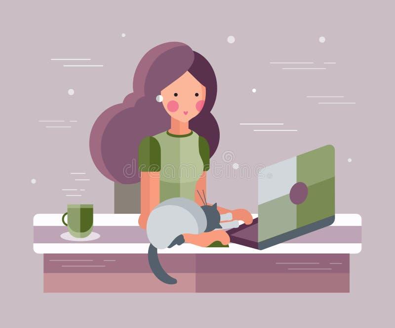 女孩膝上型计算机 向量例证