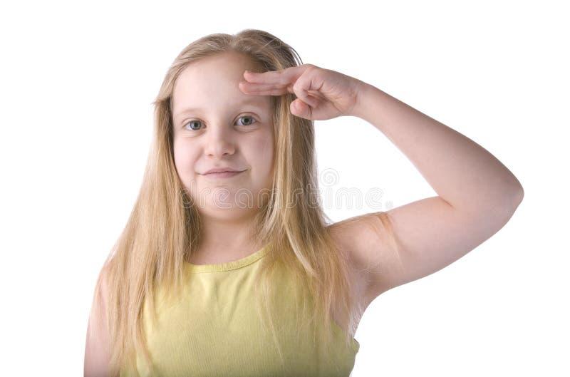 女孩致敬 免版税库存图片