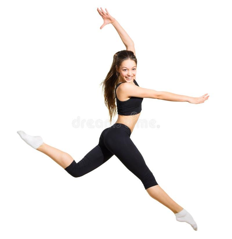 女孩舞蹈家被隔绝 库存照片