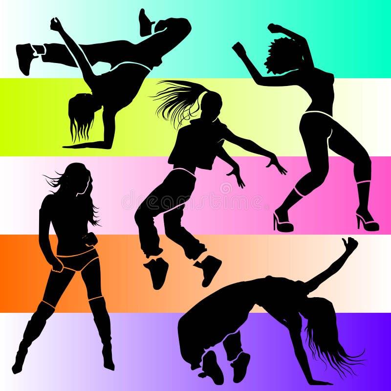 女孩舞蹈家运动俱乐部clubbers聚成棍棒状一团 皇族释放例证