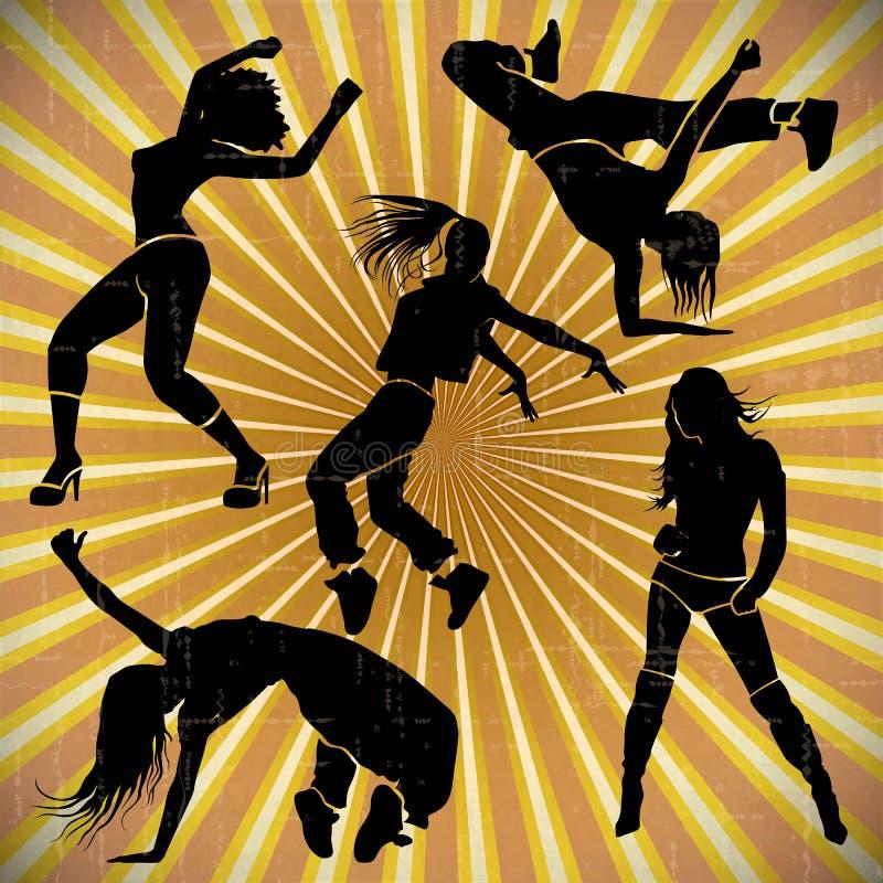 女孩舞蹈家运动俱乐部clubbers聚成棍棒状一团 向量例证