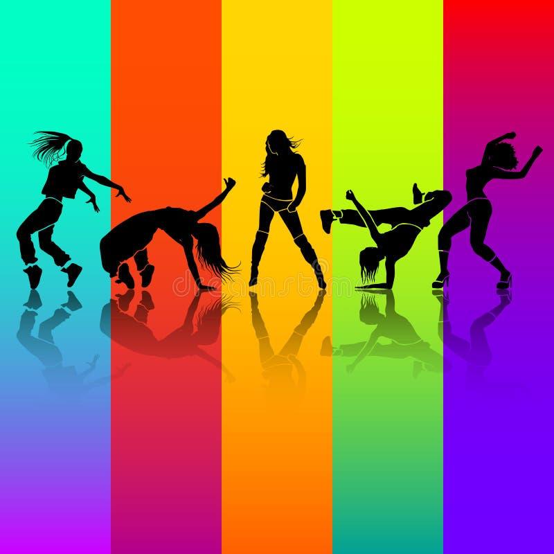 女孩舞蹈 向量例证