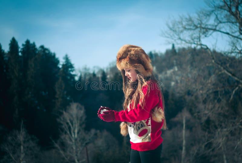 女孩获得乐趣在雪 图库摄影