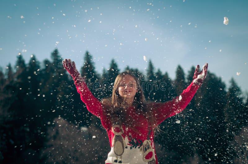 女孩获得乐趣在雪 库存图片