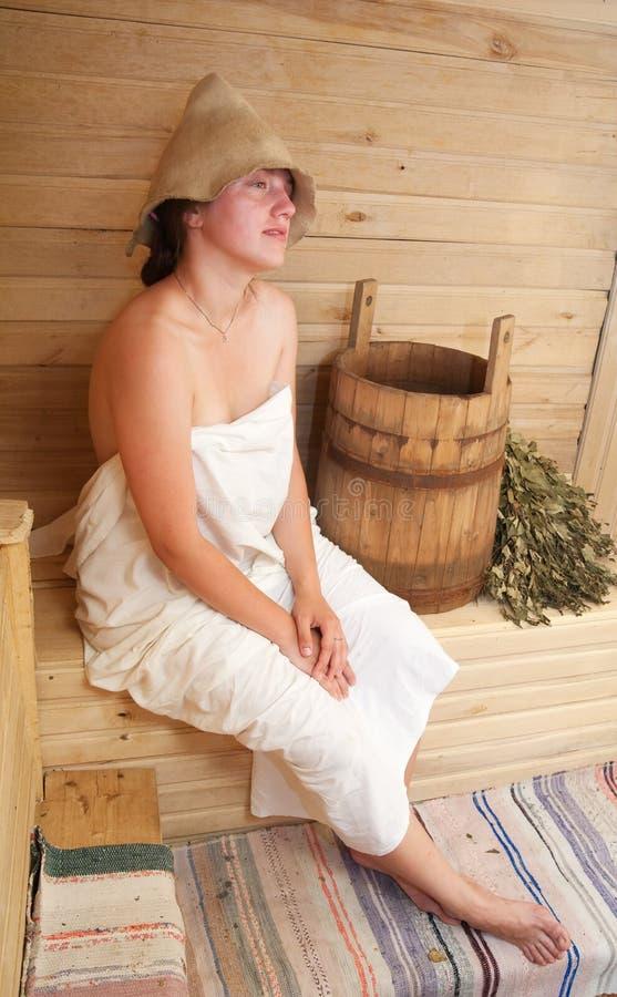 女孩蒸汽浴 图库摄影