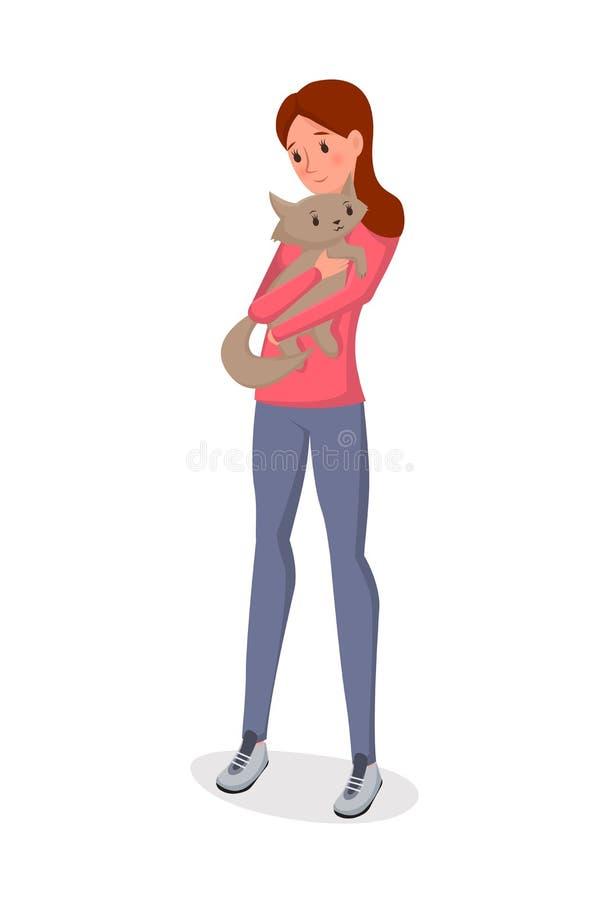 女孩藏品猫平的传染媒介例证 皇族释放例证