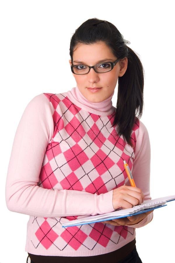 女孩藏品笔记本 免版税图库摄影