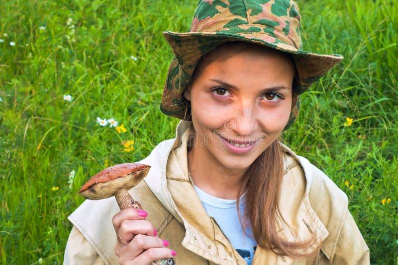 女孩蘑菇 免版税图库摄影