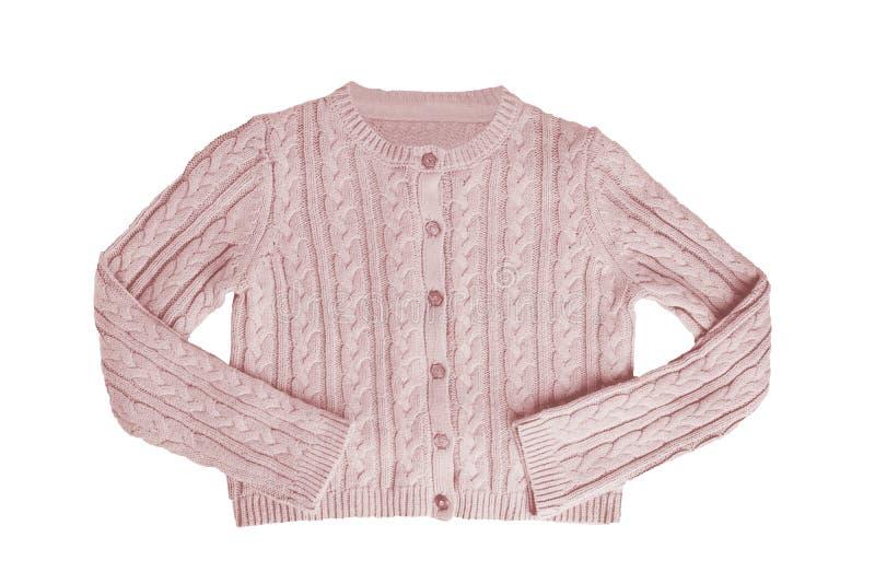 女孩衣裳 在白色背景或被编织的羊毛衫隔绝的欢乐美丽的桃红色女孩毛线衣 孩子和孩子 图库摄影