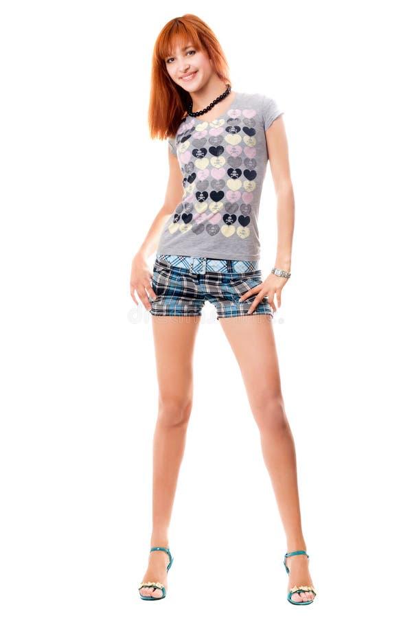 女孩衬衣短缺t 免版税库存图片