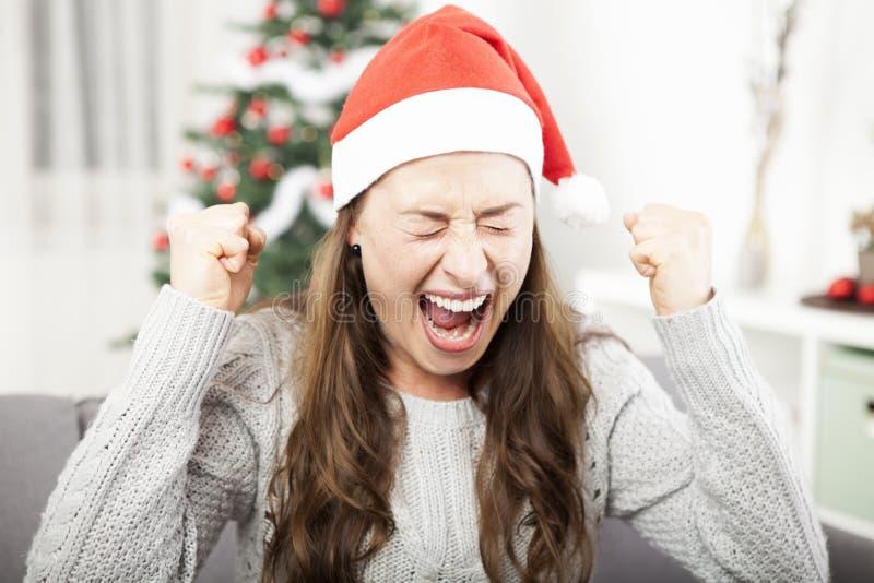女孩被挫败关于圣诞节 库存图片
