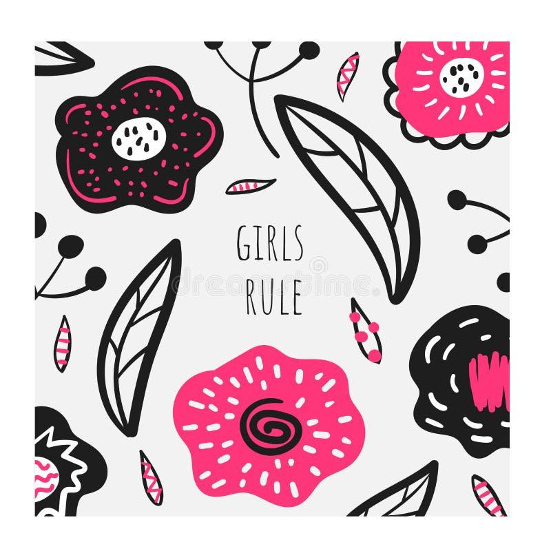 女孩规则卡片,印刷品,与黑和桃红色花的背景 库存例证