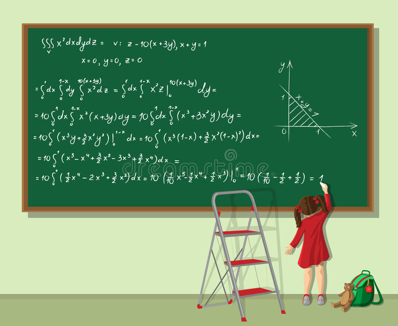 女孩解决等式 向量例证