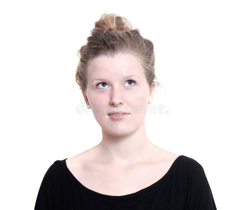 女孩认为的年轻人 免版税库存照片
