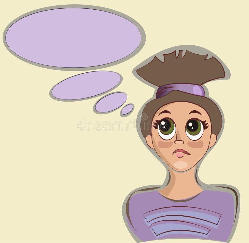 女孩认为 想法和想法 也corel凹道例证向量 皇族释放例证