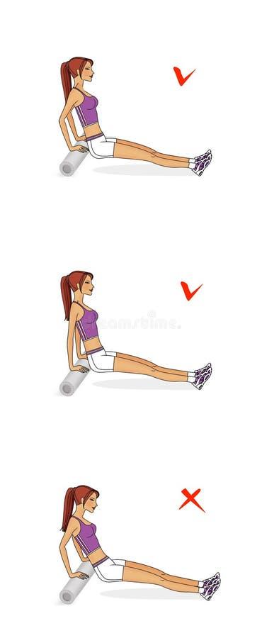 女孩训练胸口和手的肌肉 从体操路辗的后面俯卧撑 正确和不正确施行 库存例证