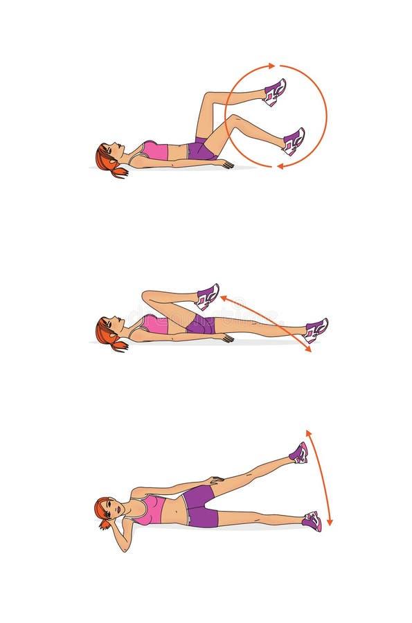 女孩训练 腿联接的流动性的动态训练 向量例证