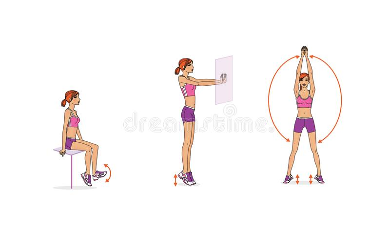 女孩训练 腿联接的流动性的动态训练 皇族释放例证