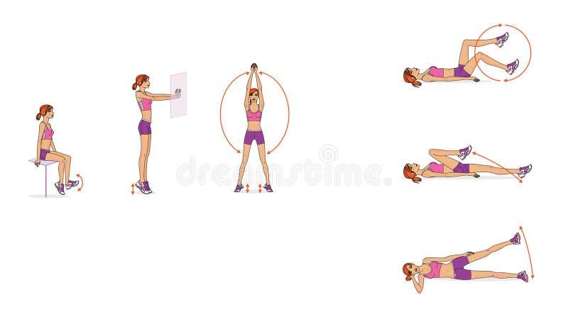 女孩训练 腿联接的流动性的动态训练 库存例证