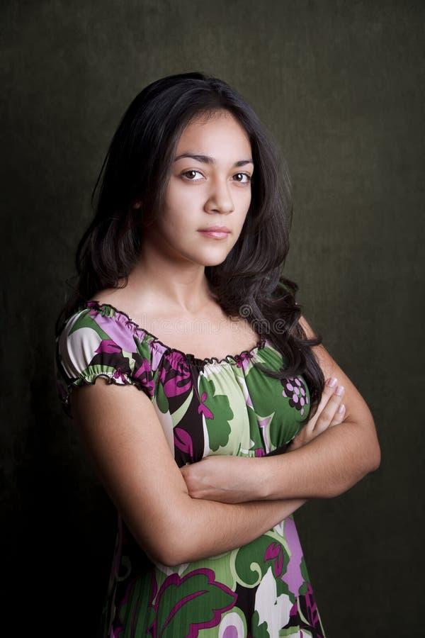女孩讲西班牙语的美国人sterh 库存图片