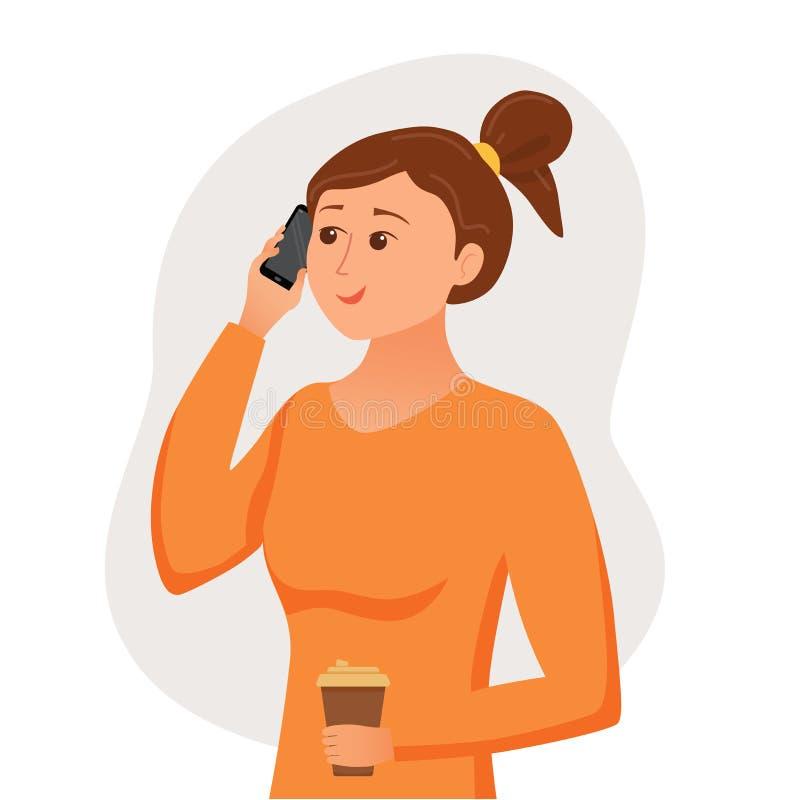 女孩讲话使用她的举行在她的手上的智能手机 皇族释放例证