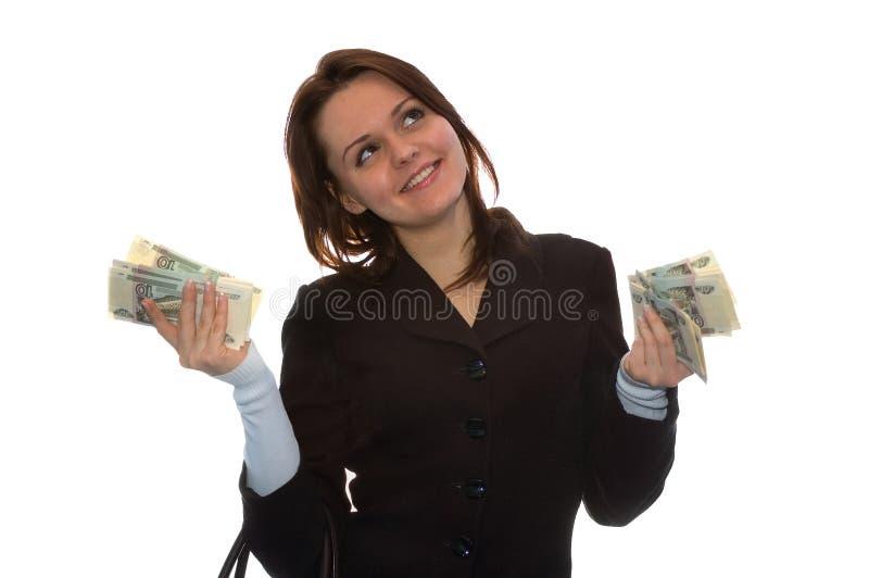 女孩货币微笑 库存照片