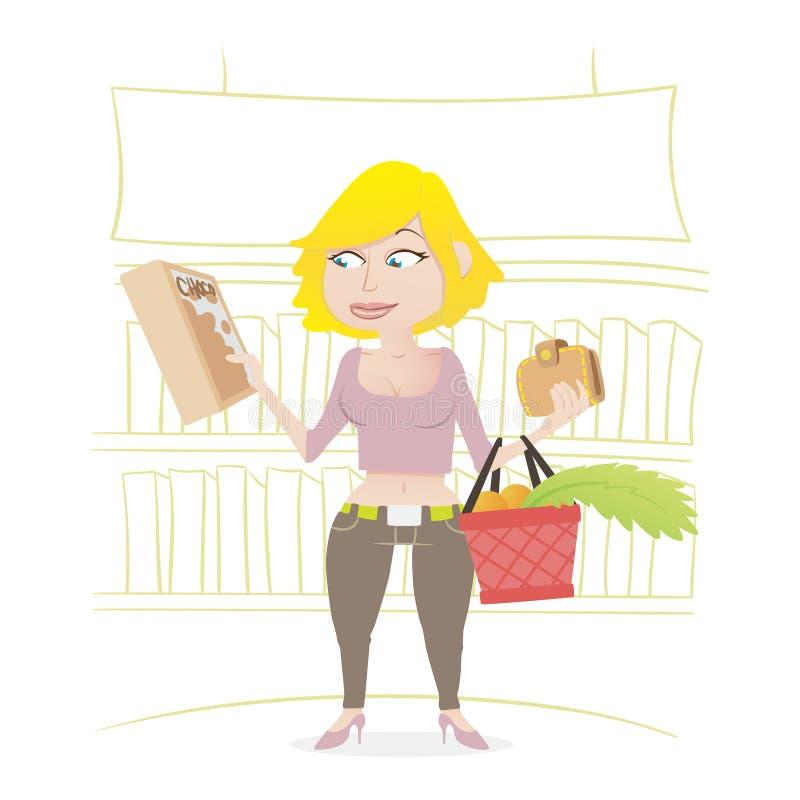 女孩购物在超级市场 库存照片