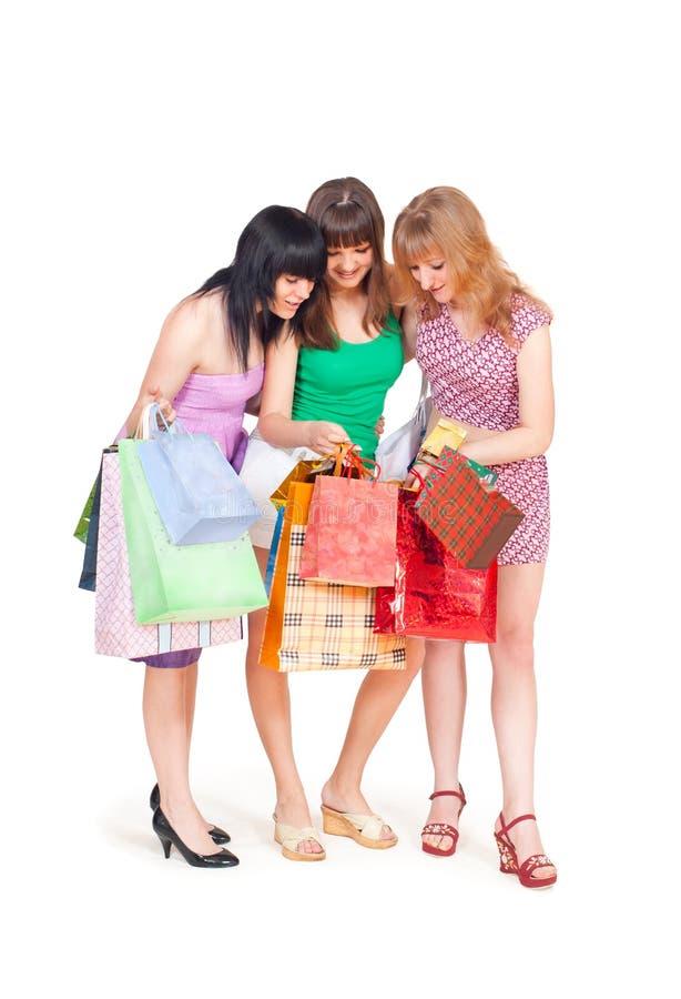 女孩购物的三 库存图片
