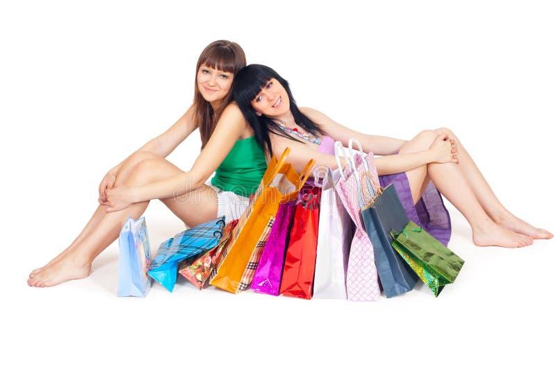 女孩购物的二 免版税库存照片