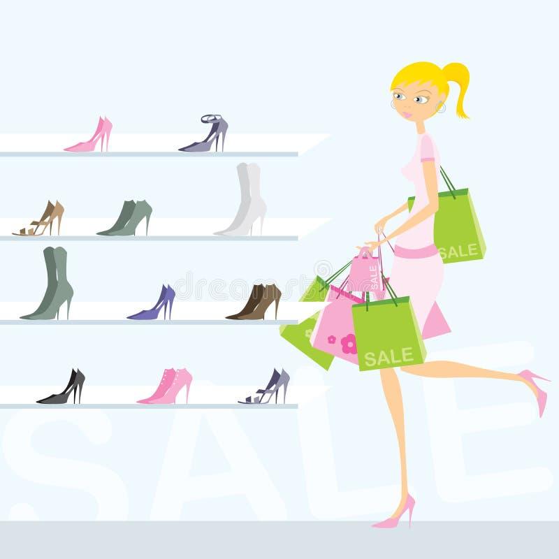 女孩购物 库存例证