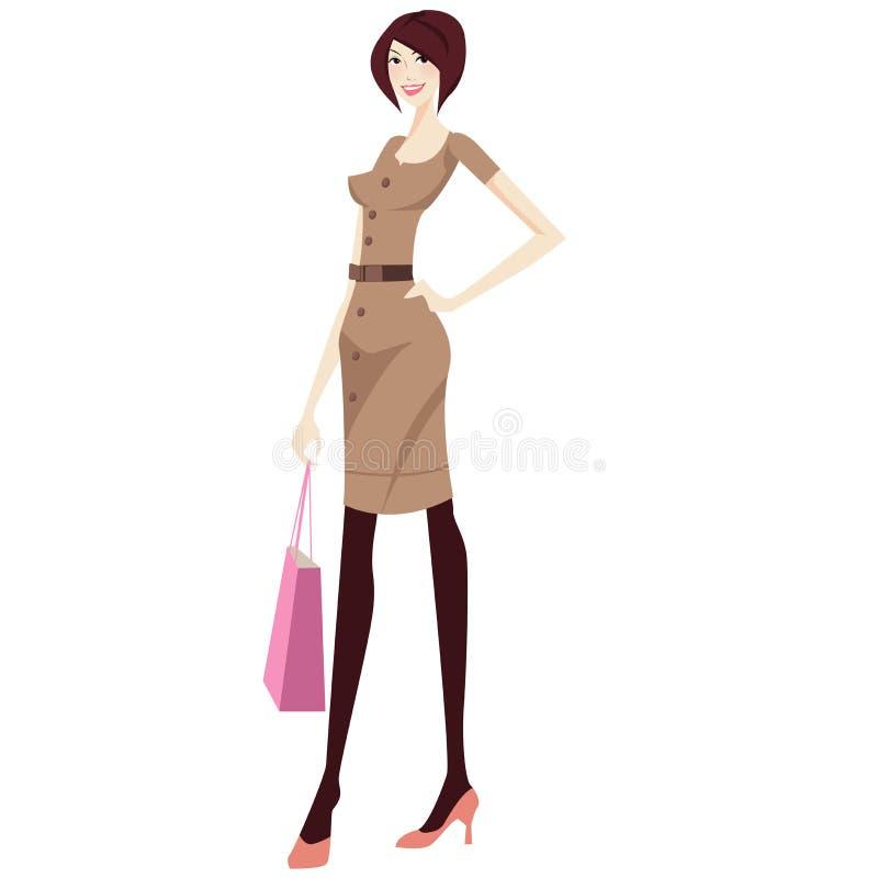女孩购物 向量例证
