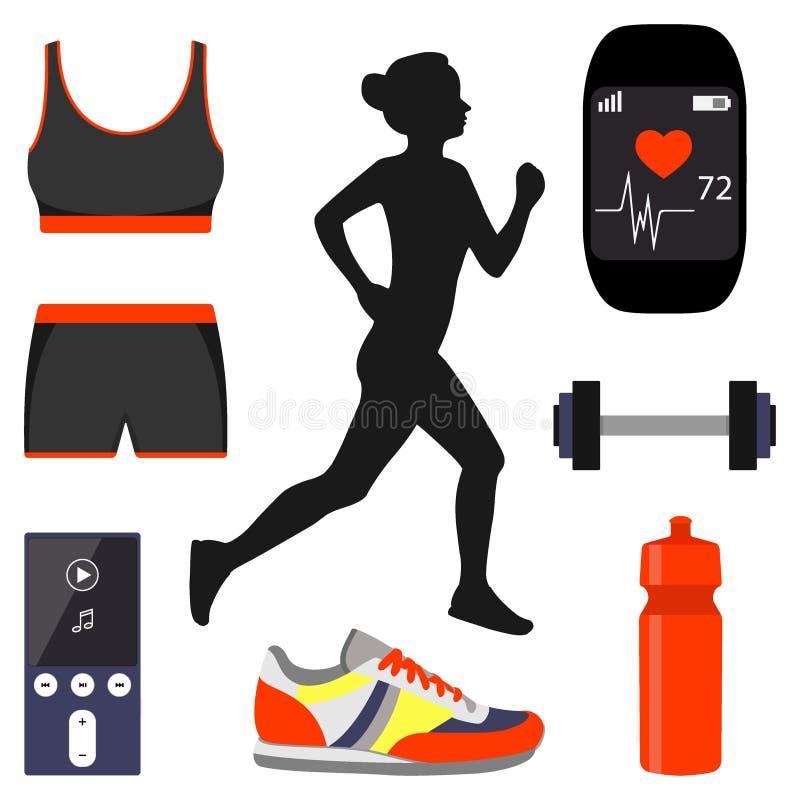 女孩赛跑和跑步属性的剪影 巧妙的手表、体育胸罩和短裤,瓶,运动鞋,哑铃 向量例证