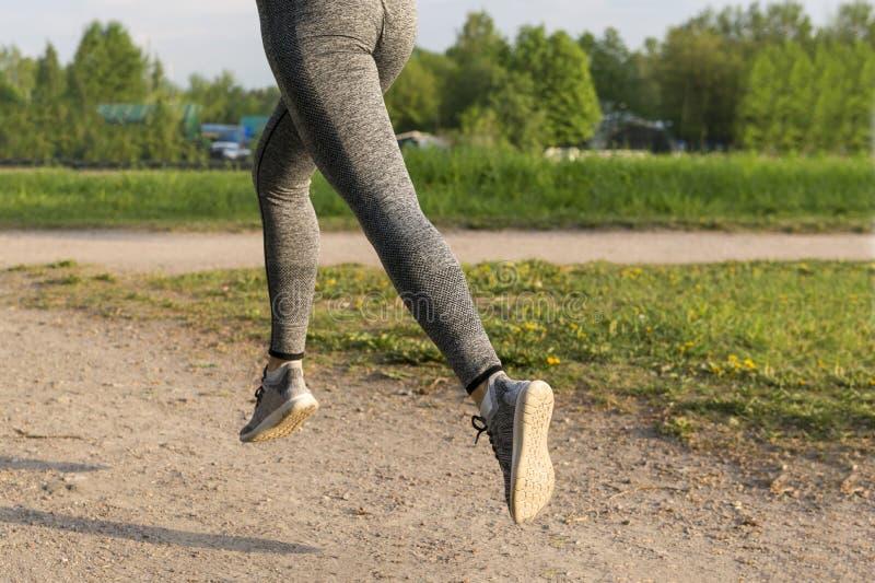 女孩赛跑在公园,在灰色绑腿的妇女的在道路的脚和运动鞋在在阳光下公园,赛跑者 库存图片