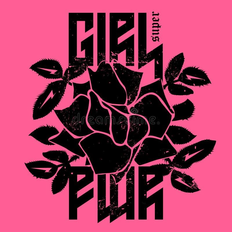 女孩超级电源的时尚印刷品或徽章 T恤杉服装prin 库存例证