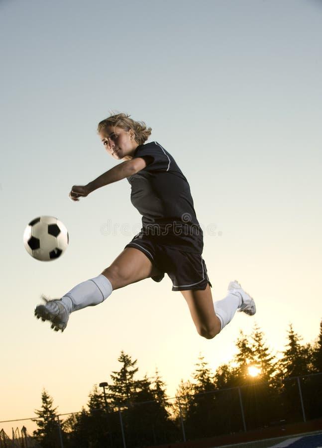 女孩足球 免版税图库摄影