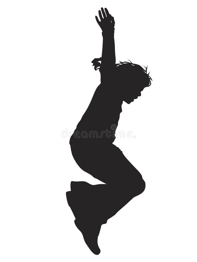 女孩跳的剪影 库存例证