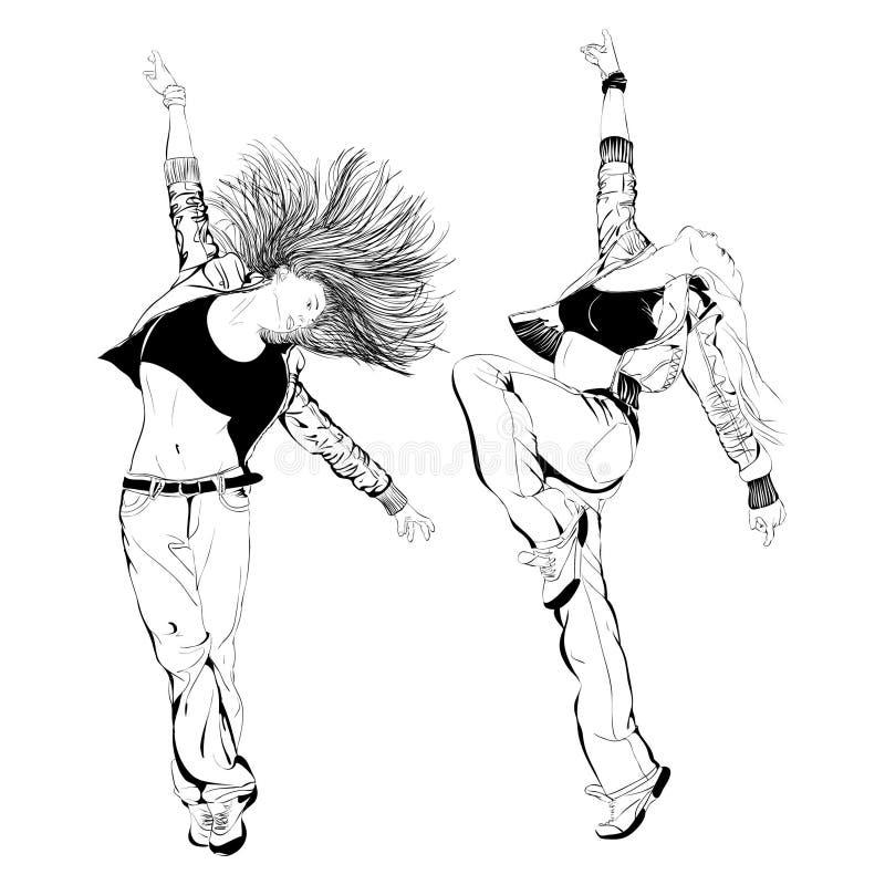 女孩跳舞,  皇族释放例证