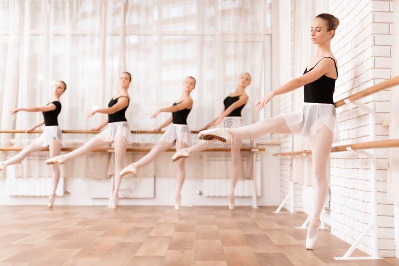 女孩跳芭蕾舞者在芭蕾类排练 库存照片