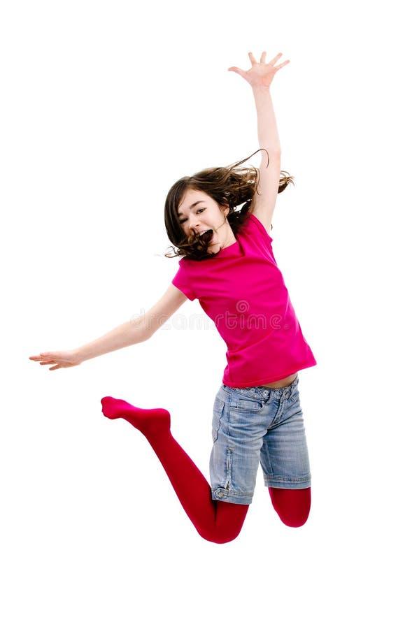 女孩跳跃 库存图片