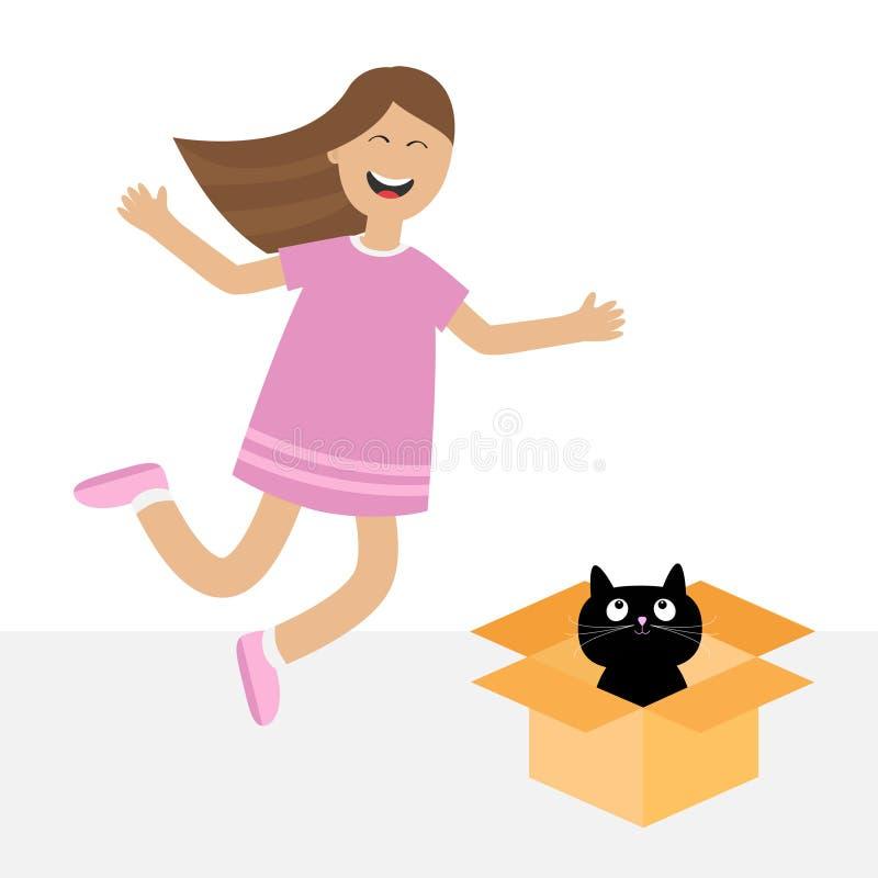 女孩跳 有黑小的猫动物的礼物盒 儿童愉快的上涨 逗人喜爱的在礼服的动画片笑的字符 开放的giftbox 向量例证