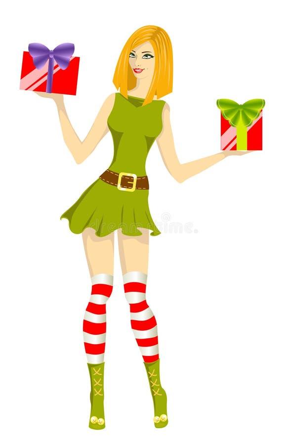 女孩辅助工圣诞老人 向量例证