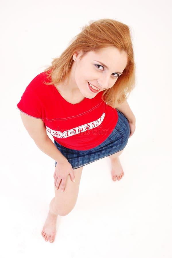 女孩运动的年轻人 图库摄影